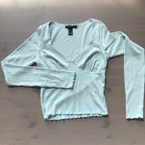 Forever 21 V Neck Long Sleeve Blouse Size Small
